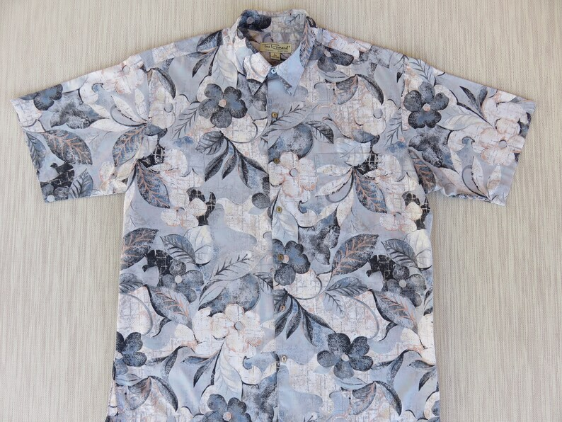 12002d0d Hawaiian Shirt Men TORI RICHARD Surfer Aloha Shirt Gray Floral | Etsy