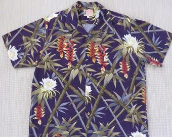 Hawaiian Shirt TAMARE Vintage Hawaii Tropical Print Bamboo Rainforest Mod Retro 70s Vibe 100% Cotton Men Camp - 2XL - Oahu Lew's Shirt Shack