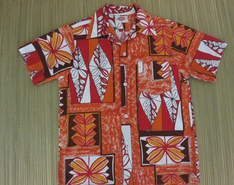 Vintage Hawaiian Shirt 60s POMARE Tribal Tiki Totem Rockabilly Atomic Super Mod Beach Boy Surf Mens - S - Oahu Lew's Shirt Shack