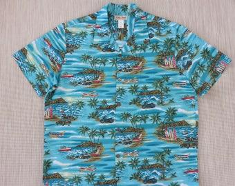 Mens Hawaiian Shirt KOKO HEAD Surfer Aloha Shirt Hawaii Airplane Tours Cruise Motorcycle Woody Vintage Camp - XL - Oahu Lew's Shirt Shack