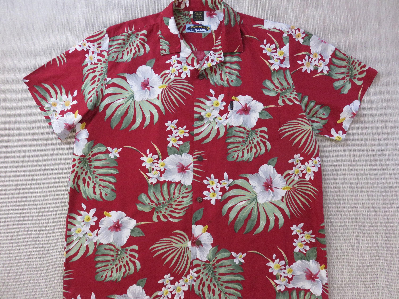 a8ce9636 Mens Hawaiian Shirt PALMWAVE Hawaii Rockin' Red Aloha | Etsy