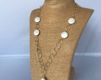 Long woman necklace-14k gold filled chain necklace-fresh water coin pearl necklace-hand wrapped pendant-free shipping-handmade necklace.
