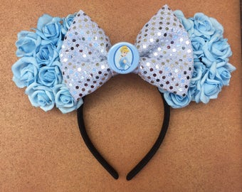 Ready-To-Ship - Cinderella Inspired Baby Blue Rose Floral Minnie Ears