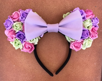 Multicolored Rose Floral Minnie Mouse Ears