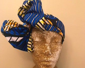 Blue Kuchena Half Head Wrap
