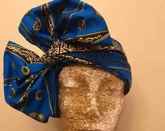 Blue and Lime Kuchena Half Head Wrap