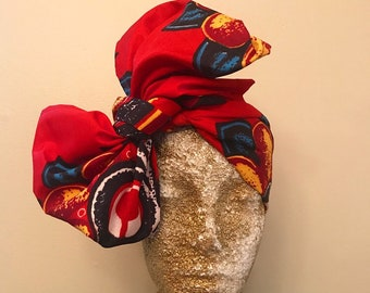 Red Kuchena Half Head Wrap