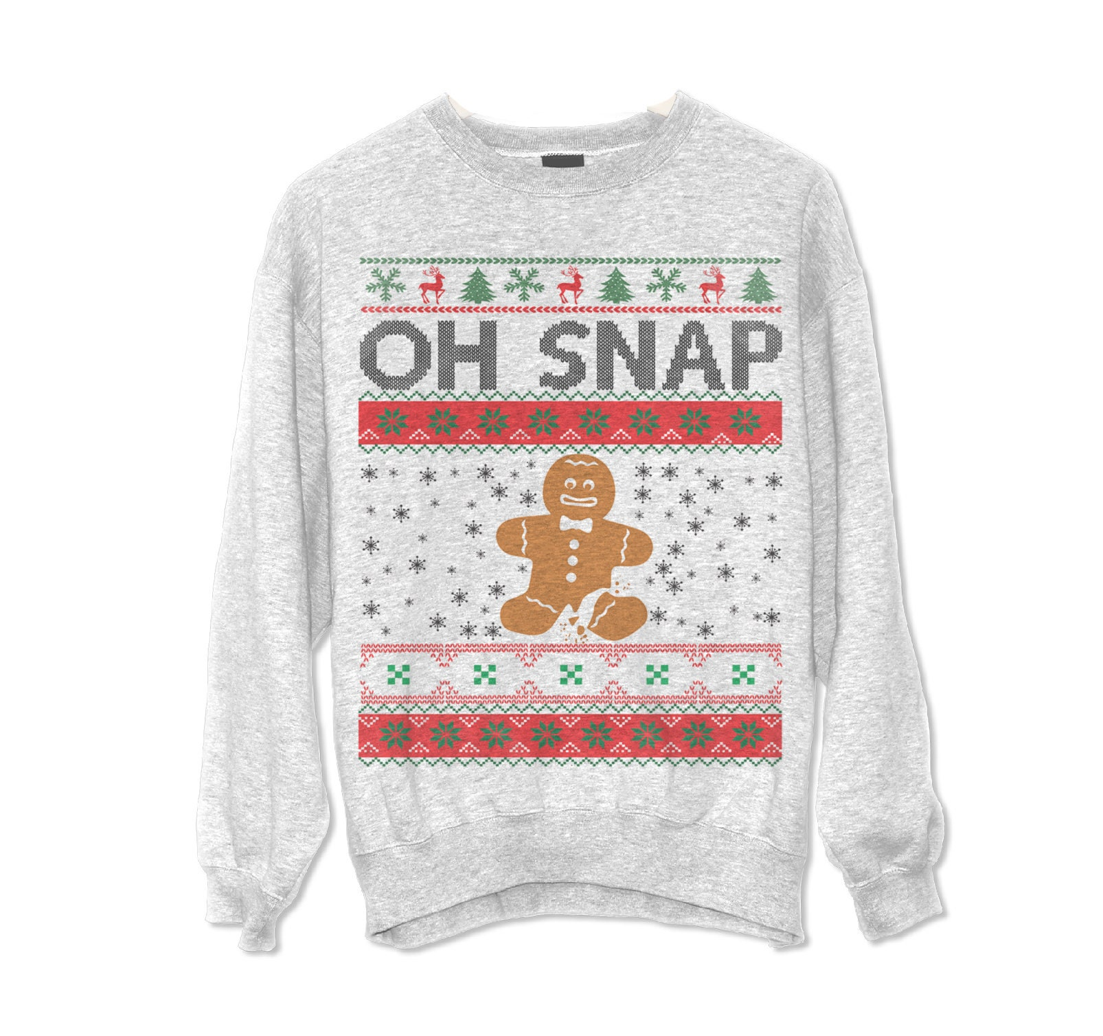 Oh Snap Gingerbread Cookie Ugly Christmas Sweater XMAS | Etsy