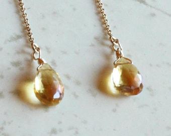 Gifts for Her, November Birthstone, Citrine Earrings, Citrine Threader Earrings Gold Filled, Sterling SIlver, Rose Gold