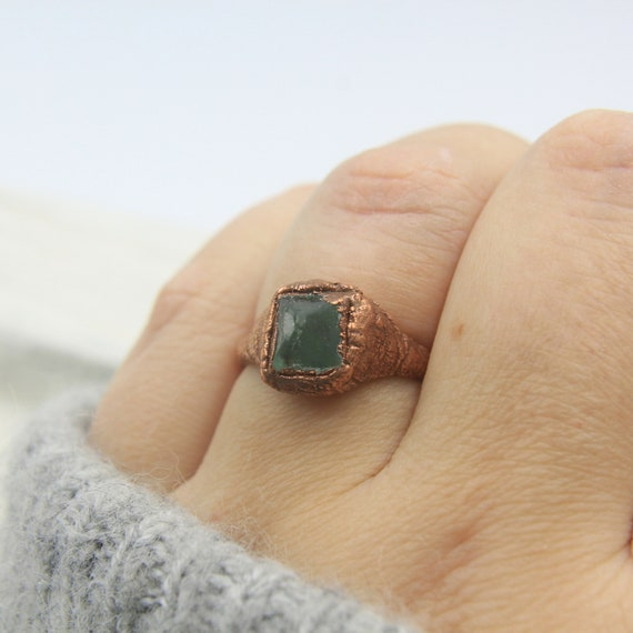 Green Sea Glass ring with electroformed copper band  Everyday ring  Minimalist  Bohemian ring  Size 6 12  Stacker ring