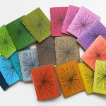 7*Pack*Recycled Notebooks, FLOWERBURST Design, Zero Waste, Blank Unlined, Hand Bound, You choose the colors!