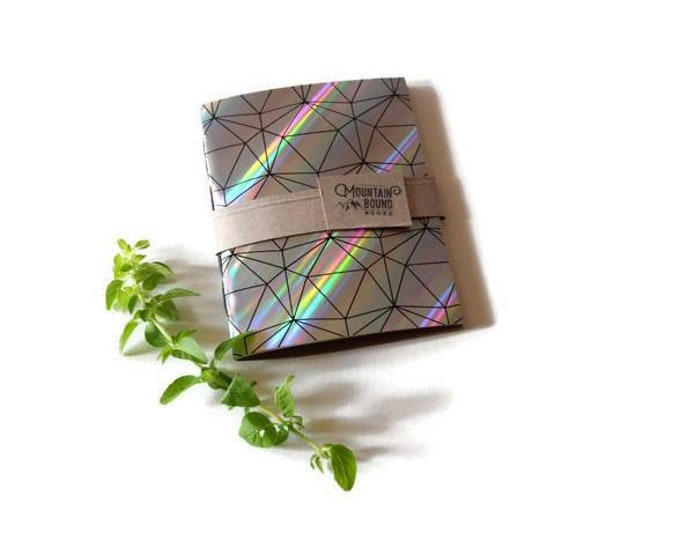 Featured listing image: Blank Holographic Writing Journal, Geometric Zero Waste Notebook, Drawing Book, Pocket Journals, Covered Writing Tablets, No Line Diary