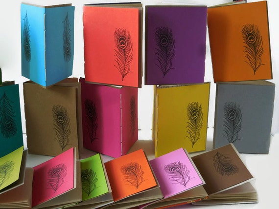 10* Recycled Notebooks, PEACOCK FEATHER Design, Zero Waste, Blank Unlined, Hand Bound, You Choose Any Colors, More Sustainable, Repurposed