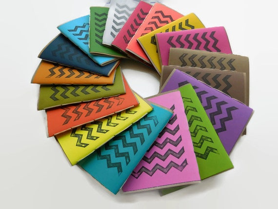 3*pack*Recycled Notebooks, CHEVRON Design, Zero Waste, Blank Unlined, Hand Bound, You Choose the Colors