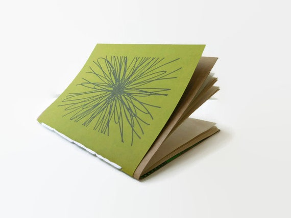 ONE* Recycled Notebook, FLOWERBURST Design, Zero Waste, Blank Unlined, Hand Bound, You choose the color!