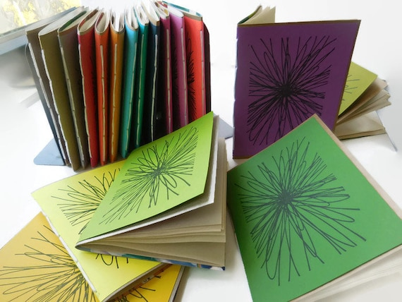 3*pack*Recycled Notebook, FLOWERBURST Design, Zero Waste, Blank Unlined, Hand Bound, You Choose the Colors!