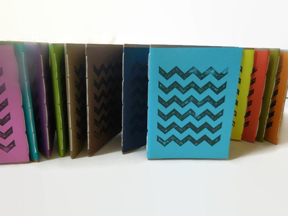 One* Recycled Notebook, CHEVRON Design, Zero Waste, Blank Unlined, Hand Bound, You Choose the Color