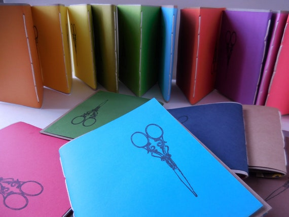 10* Recycled Notebooks, VINTAGE SCISSORS Design, Zero Waste, Blank Unlined, Hand Bound, You Choose Any Colors, More Sustainable, Minimal