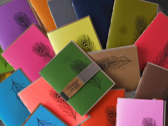 7*pack* Recycled Tree-Free Notebook, PEACOCK FEATHER Design, Zero Waste, Blank Unlined, Hand Bound, You Choose the  color, handmade