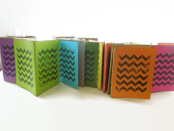10* Recycled Notebooks, CHEVRON Design, Zero Waste, Blank Unlined, Hand Bound, You Choose Any Colors, More sustainable, Repurposed, Minimal