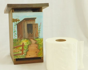 Vintage Wooden Outhouse Toilet Paper Roll Holder, Shed, Hand Painted Primitive Bathroom, Toilet Tissue Holder, Outdoor Toilet, Outdoor John
