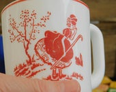 Little Bo Peep Vitrock Mug, Mother Goose Nursery Rhyme Vintage Red Depression Glass, Fire King, Anchor Hocking, Gift for Little Girl New Mom