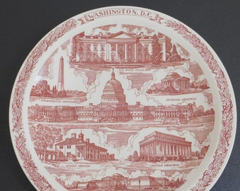 Vintage Washington DC Souvenir Travel Plate, Capitol Souvenir Co, The White House, Washington Monument, Jefferson Memorial, Red Transferware