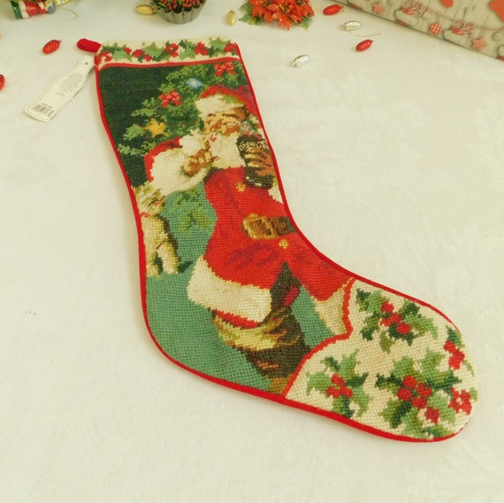Vintage Needlepoint Christmas Stockings.Vintage Needlepoint Christmas Stocking From Coca Cola Design Haddon Sundblom High End Gift Coke Collector Fireplace Mantel Decor Mint
