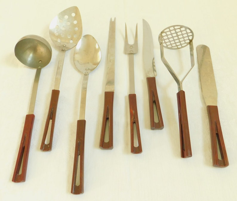 Charmant 8 Vintage Kitchen Utensils, StanHome Stainless Steel, Brown V Shape Handle  Chef Essential Cooking Tools, Mid Century Modern, Gift For Couple