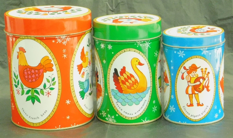 12 Days of Christmas Vintage Pennsylvania Dutch folk art Food safe metal containers for holiday cookie swaps. 3 pc Christmas canister set