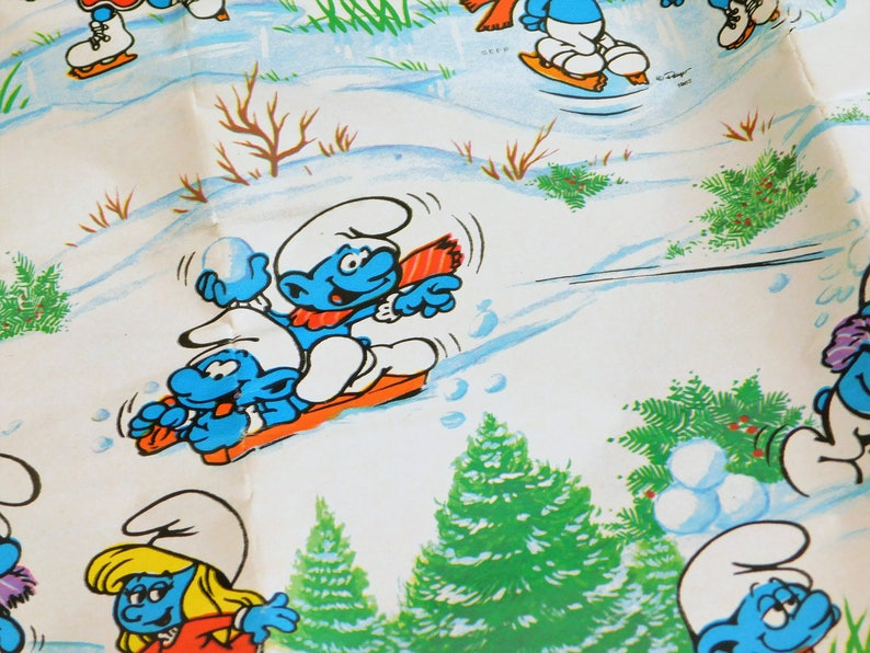 Smurfs Christmas.Vintage Smurfs Christmas Wrapping Paper Blue Smurf Gift Wrap Ice Skating Snow Sledding Outdoor Winter Sports His And Hers Birthday