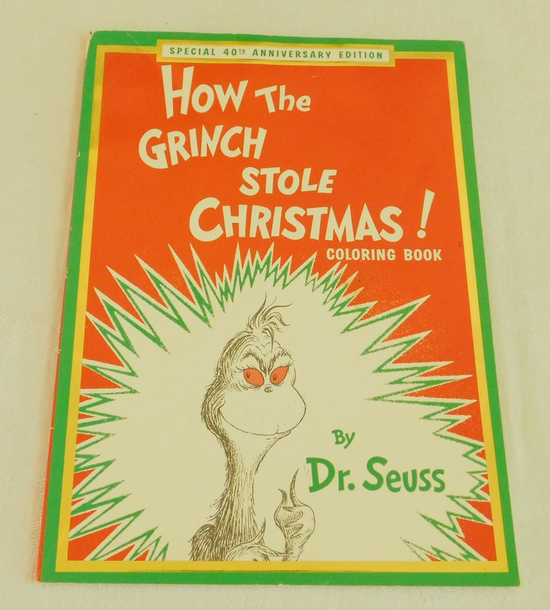 How The Grinch Stole Christmas Book Cover.Vintage How The Grinch Stole Christmas Coloring Book Christmas Story Dr Seuss For Adult Or Kids Gift Stocking Stuffer