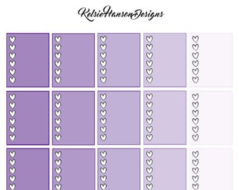 Printable Planner Stickers - Purple Heart Checklists