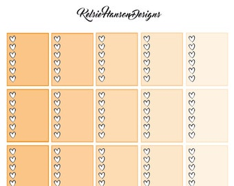 Printable Planner Stickers - Orange Heart Checklists