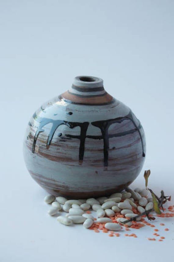 Ceramic Small Blue Vase Pottery Vases Pottery Set Handmade