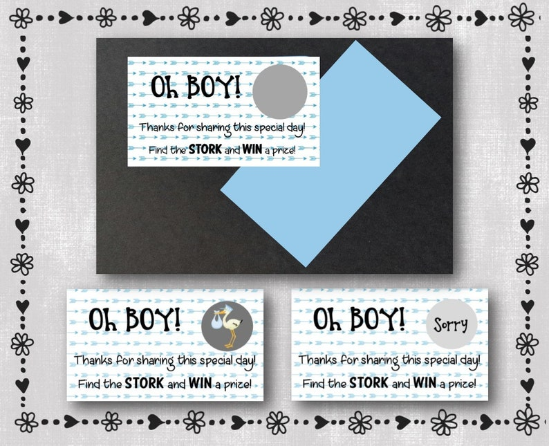11 Oh Boy Right Arrows Baby Shower Game Scratcher Etsy