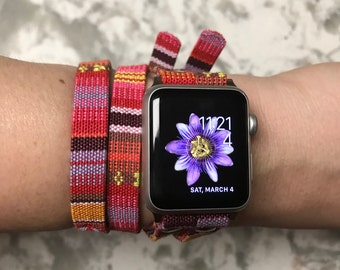 Woven cotton pink double wrap Apple Watch band