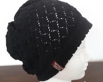 921c66bd5fa Cheeky Spring cap with sweet Pinhole Pattern Cap MyCozyCap Wool Knitted  knit cap has black