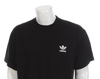 ab030bd29 RARE Vintage 90s Adidas Trefoil T-Shirt Black and White Size XXL