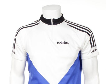 Vintage 90s Adidas Cycling Jersey Vintage 90s Blue White Size M 741039fe1