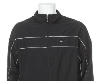 15d1c7103aa3 Vintage 90s Nike Swoosh windbreaker Jacket Black white Size L