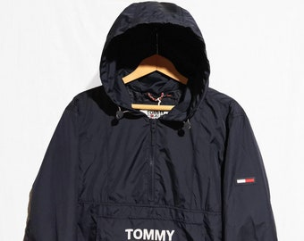 3800a5878cd3fe TOMMY HILFIGER windbreaker Jacket Half Zip Pullover Packable Tommy Jeans  Retro Blue Size S