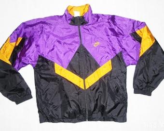 58f89ccff239 RARE Vintage 90s Nike Windbreaker jacket Color blocking Purple Gold Black  Size S