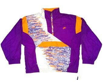 af6bec4c0896 Vintage 90s NIKE Gray Tag windbreaker 1 4 zip Pullover jacket Multicolor  Purple White Orange Size M