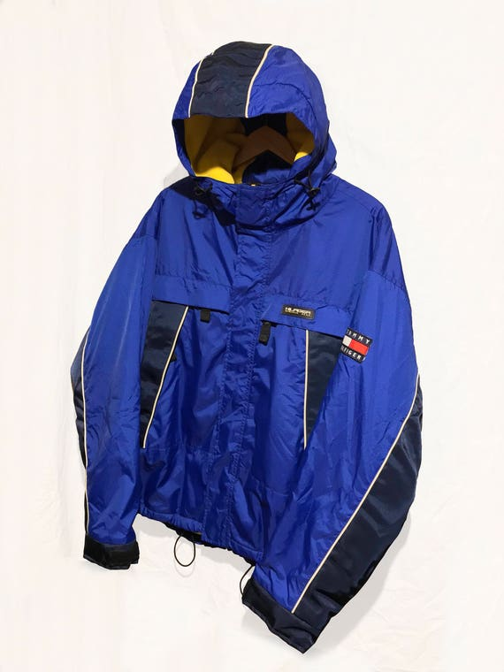 latest trends new style of 2019 pretty nice Vintage 90's Tommy Hilfiger Jacket Athletic Gear Fleece Lined Winter Flag  Logo Spell Out Color Block Navy /Blue/Yellow Size M
