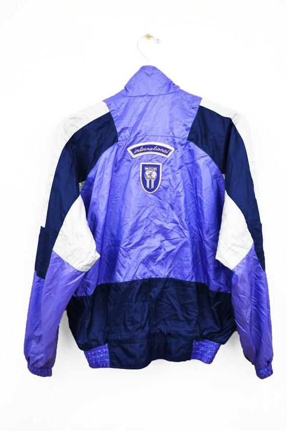 RARE Nike International coupe vent veste Vintage années 90 multicolore violetbleublanc taille L