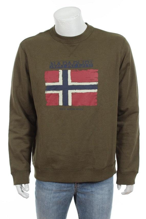 Vintage Napapijri Sweatshirt Big Flag Spell Out Green Size XL