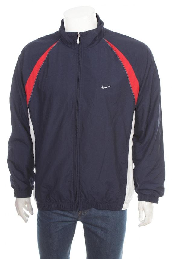 Nike Windbreaker Jacket 90s Nylon Shell Zip Jacket Color Block vintage 90s Retro Sports Dark Blue white Large L