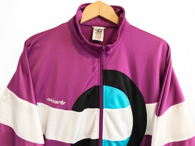 Adidas Jacke der 90er Jahre Klee Windbreaker schneiden und nähen  Trainingsjacke Weisswein lila grün Größe M D5 4e78e9eb7c