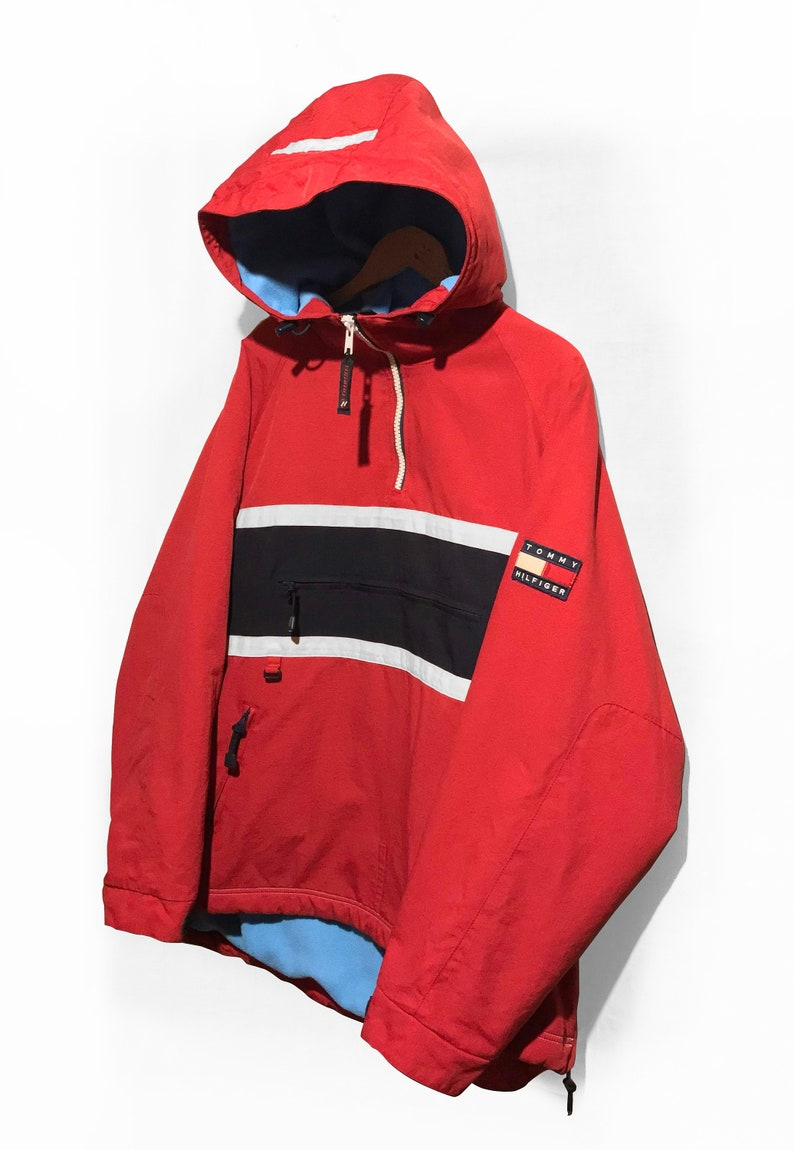 8ab6167ec33f0 Vintage 90s TOMMY HILFIGER Pullover Jacket Fleece Lined Flag Logo Spell Out  Multicolor Red/White/Blue Size L